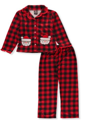 PJ'S & PRESENTS GIRLS' SANTA CHECK 2-PIECE PAJAMAS