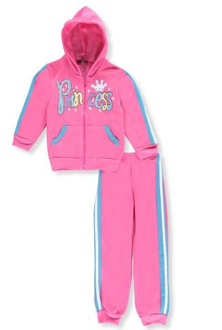 """Glitter Princess"" 2-Piece Fleece Sweatsuit (Gray 2T,Pink 3T)"
