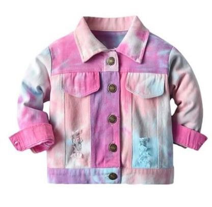 Tie Dye Distressed Denim Jacket