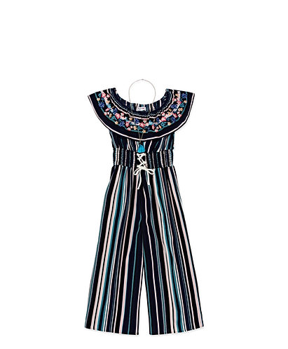 Girls Embroidered Jumpsuit
