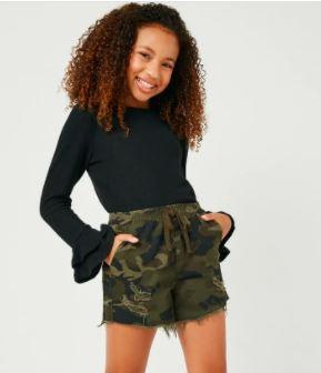 Girls Double Ruffle Long Sleeve Knit Top