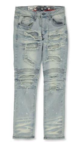 LR Scoop Boys' Paint Splatter Patched Moto Jeans