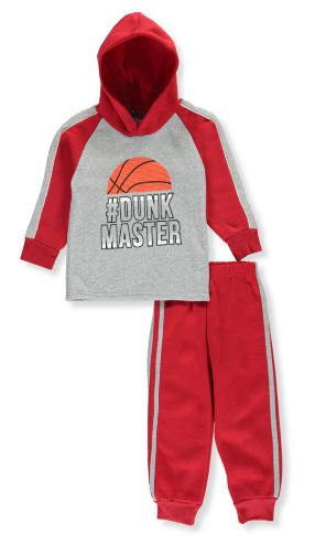 Dunk Master 2-Piece Fleece Sweatsuit  (Colors: Black/Red/Navy) Sizes 3T, 4T