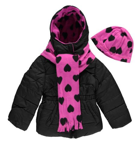 Pink Platinum Girls' Puffer Jacket with Accessories (Size 4)