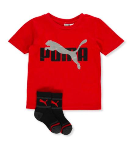 PUMA BOYS' 2-PIECE SHIRT & SOCKS SET