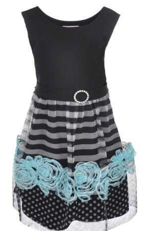 "Bonnie Jean Girls Plus Size ""Tulle Stripe"" Dress"