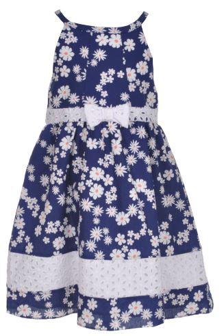 Eyelet-Paneled Daisies Dress (Size 4T)
