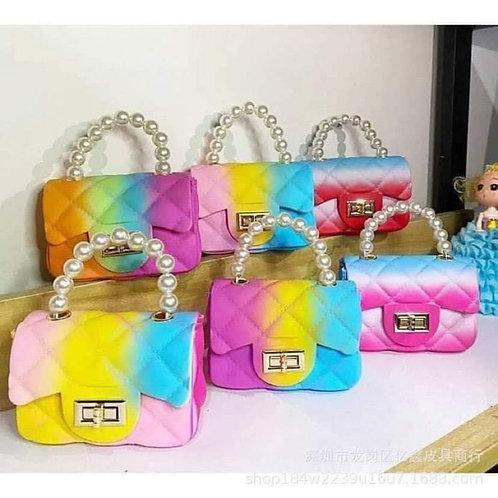 Mini Rainbow Jelly Crossbody w/Pearl Handle