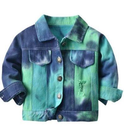 Unisex Tie Dye Distressed Denim Jacket (3 Colors Available)