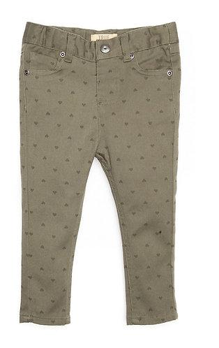 Girls Olive Heart Denim Pants