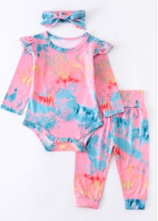 Baby Tie Dye Ruffle Pants Set with Bow