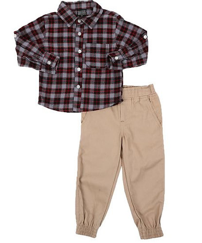 2 Pc Plaid Button Down Flannel Shirt & Twill Jogger Pants Set