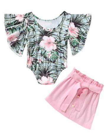 2-Piece Flower Romper & Pink Skirt Set