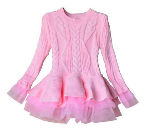 Autumn Solid Color Knitted Organza Patchwork Dress/Sweater
