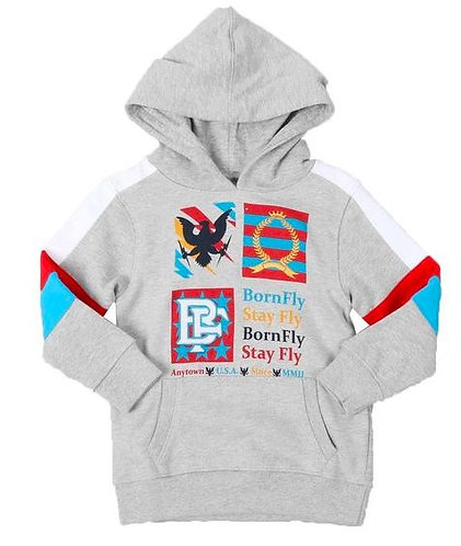 Born Fly Fleece Embroidered Patch Pullover Hoodie