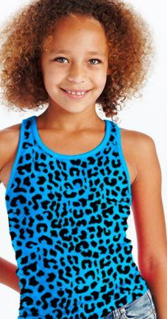 Girl's Racer Back Lace Tank (Blue & Pink Leopard Print)