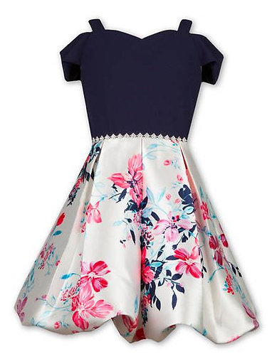 Cold Shoulder Scuba Floral Bubble Hem Dress