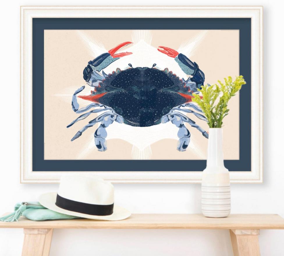 """Blue Crab"" 2020, digital, by Kayla Kinsella Meier/BrightPopShop/KKMart23"
