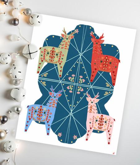 Folk Art Reindeer, 2020, digital