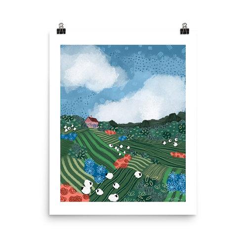 Springtime Sheepscape, 2021, by Kayla Cooper (Kinsella Meier) Print