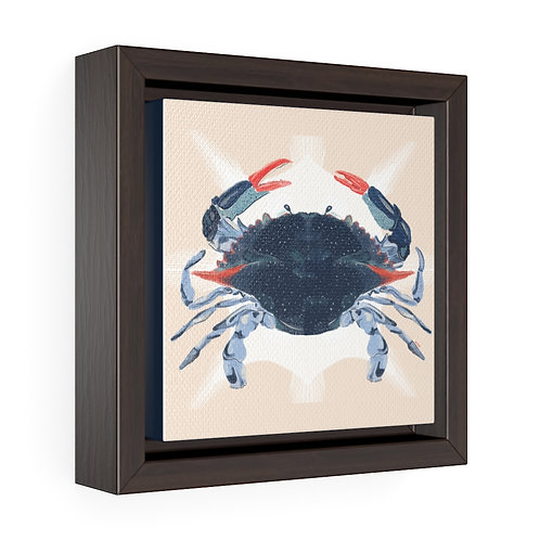 """Blue Crab"" 2020, Square Framed Premium Gallery Wrap Canvas"