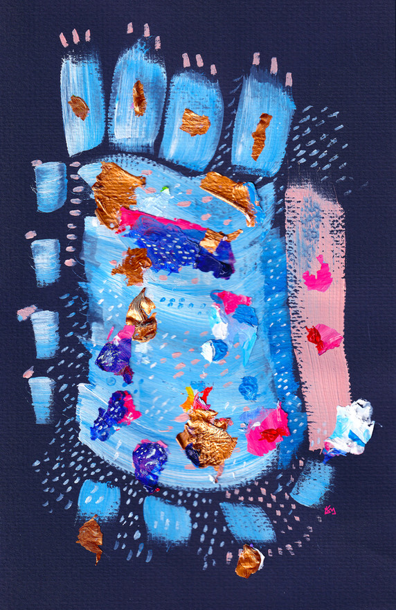 """Spring Pink"" Acrylic/digital, 2020, by Kayla Kinsella Meier"