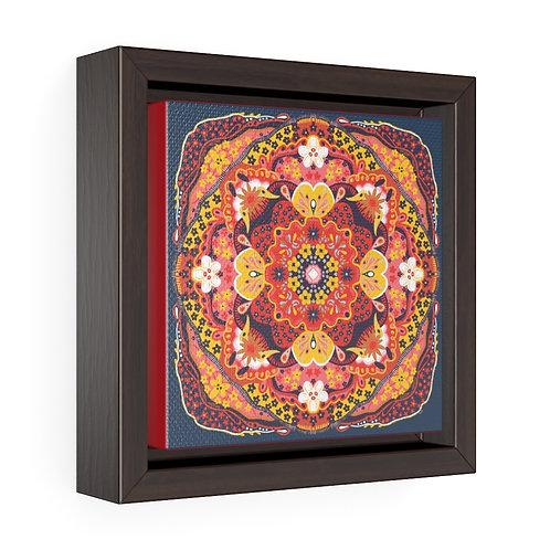 """Red Flowers"" Folk Art Mandala, 2020, Square Framed Gallery Wrap Canvas"