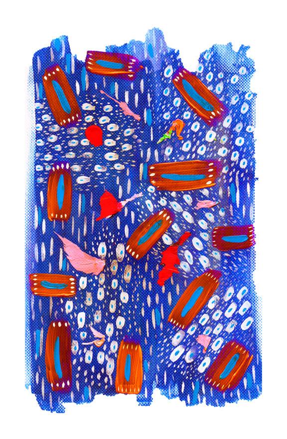 Blueberries, 2019, acrylic