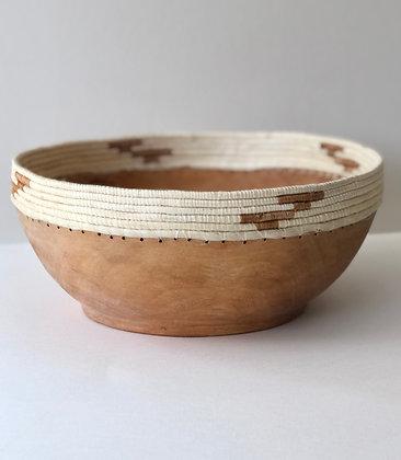 White & Taupe Jacaranda Wood Bowl