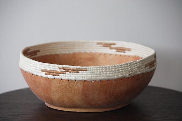 White / Taupe Jacaranda Wood Bowl