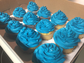 Custom Blue Buttercream Cupcakes