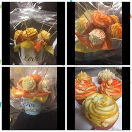 Orange Yellow Cupcake Bouquet