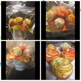 Orange Yellow Cupcake Bouquet
