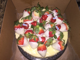 White Chocolate Vanilla Cake with White Chocolate Covered Strawberries