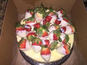 White Chocolate Vanilla Cake with White Chocolate Covered Strawberries