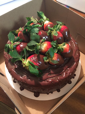 Chocolate Cake with Chocolate Covered Strawberries