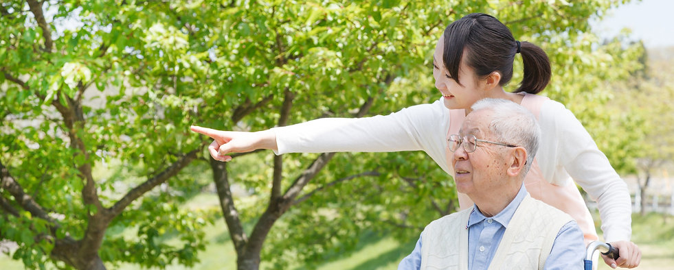 Japanese caregivers and senior in the fi