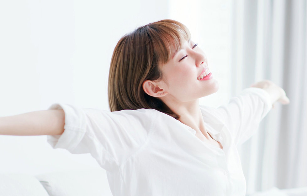 young woman feel carefree and stretch ar