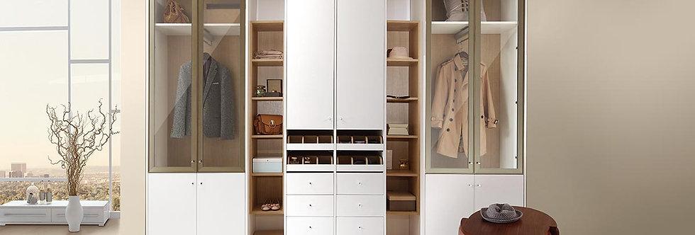 Modern White Wood Grain Functional Wardrobe