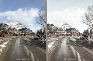 Using preseter powder pink on adobe lightroom before and after in banff, ab
