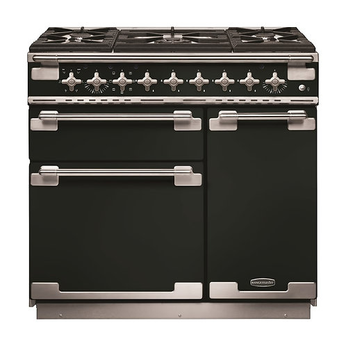 Rangemaster ELS90DFFGB Elise Gloss Black with Brushed Chrome Trim 90cm Dual Fuel