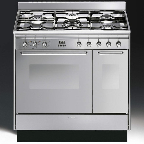 Smeg CC92MX9 Cucina double cavity 90cm dual fuel range cooker stainless steel