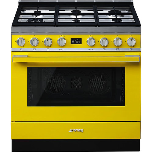 Smeg Portofino CPF9GPYW 90cm Dual Fuel Range Cooker - Yellow - A+ Rated