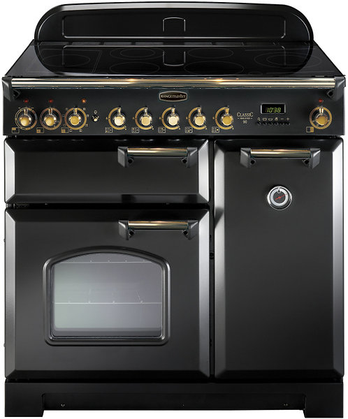 Rangemaster CDL90ECBL/B Classic Deluxe Gloss Black with Brass Trim 90cm Electric