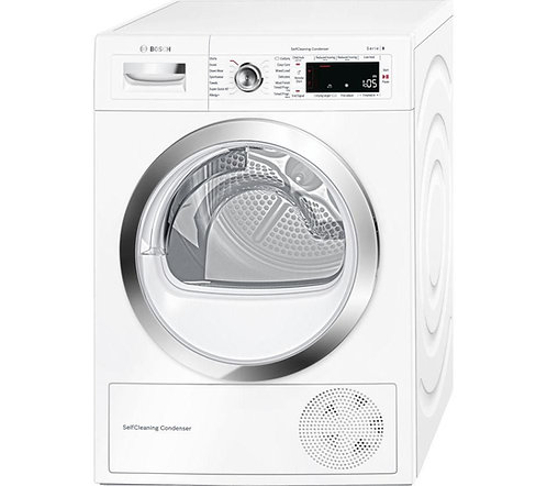 BOSCH Serie 8 WTWH7560GB Heat Pump Smart Tumble Dryer - White