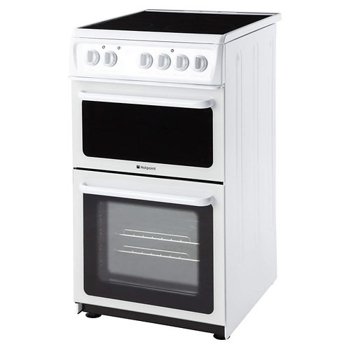 Hotpoint HAE51PS 50cm Wide Double Cavity Electric Cooker With Ceramic Hob