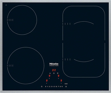 Miele KM6322 Induction Hob in Black with Stainless Steel Trim