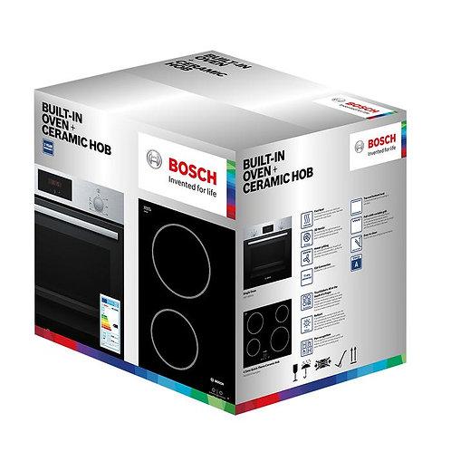 BoschHHF113BROB+PKE611D17E Oven & Ceramic Hob Pack Stainless Steel & Black