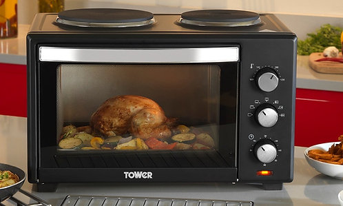 Tower T14013 Mini Oven with Two Hot Plates and Grill