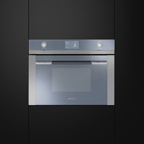 Smeg SF4120M Linea Aesthetic Microwave Oven with Grill, Stainless Steel